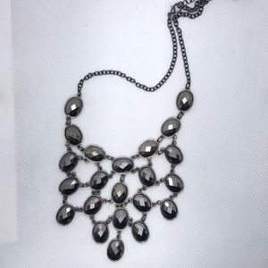 Iced Black Silver Shining Statement Necklace